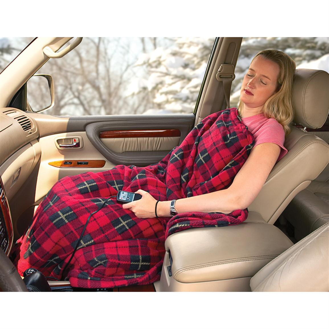 12-volt Heated Travel Blanket with Safety Timer, Plaid