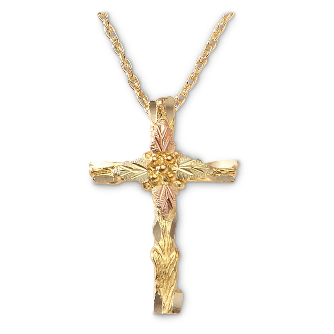 Mt. Rushmore Black Hills Gold Cross Necklace, Gold