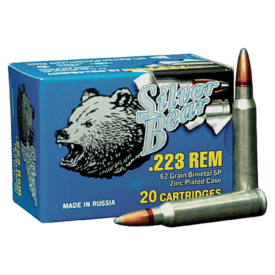 Silver Bear, .223 Remington, SPBT, 62 Grain, 20 Rounds