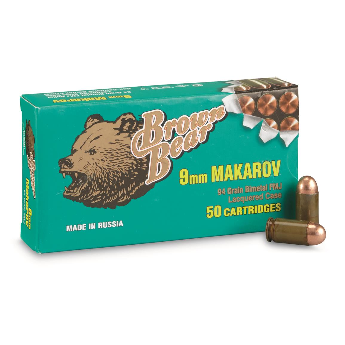 Brown Bear, 9x18mm Makarov, FMJ, 94 Grain, 50 Rounds