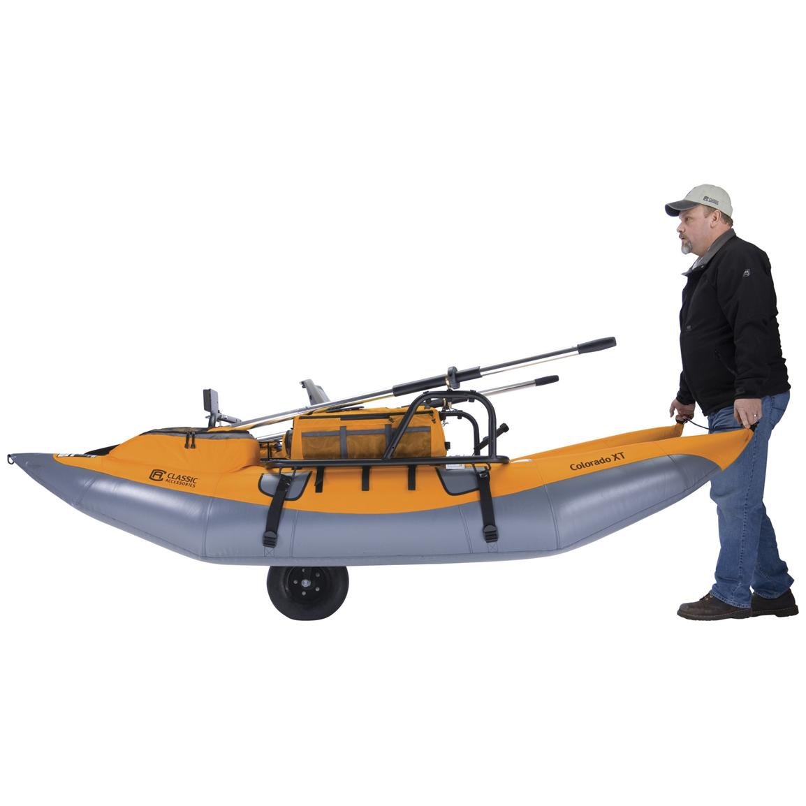 Integrated transport wheel stows up when fishing