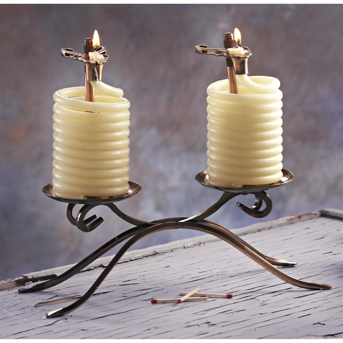 Candle by the Hour; Two 36 Hour Beeswax Coil Candle Centerpiece