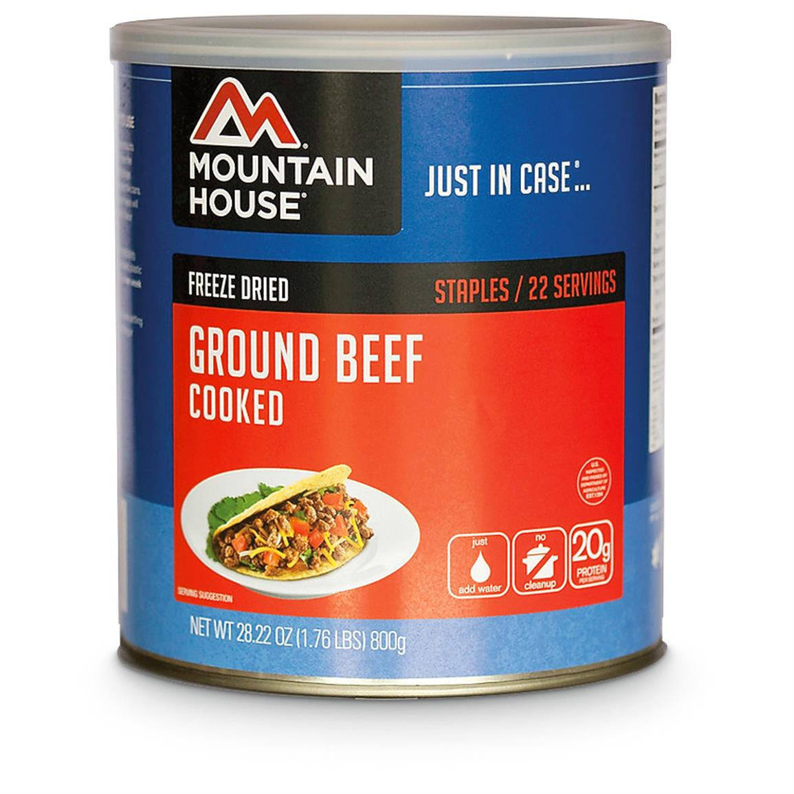 Mountain House Cooked Freeze-Dried Ground Beef, 22 Servings