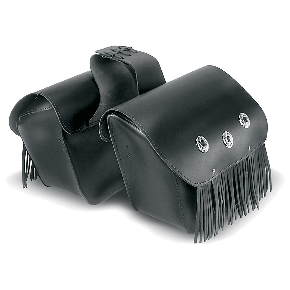 Carroll Heavy Duty Large Slant Throw-Over Saddlebag with Fringe and Conchos