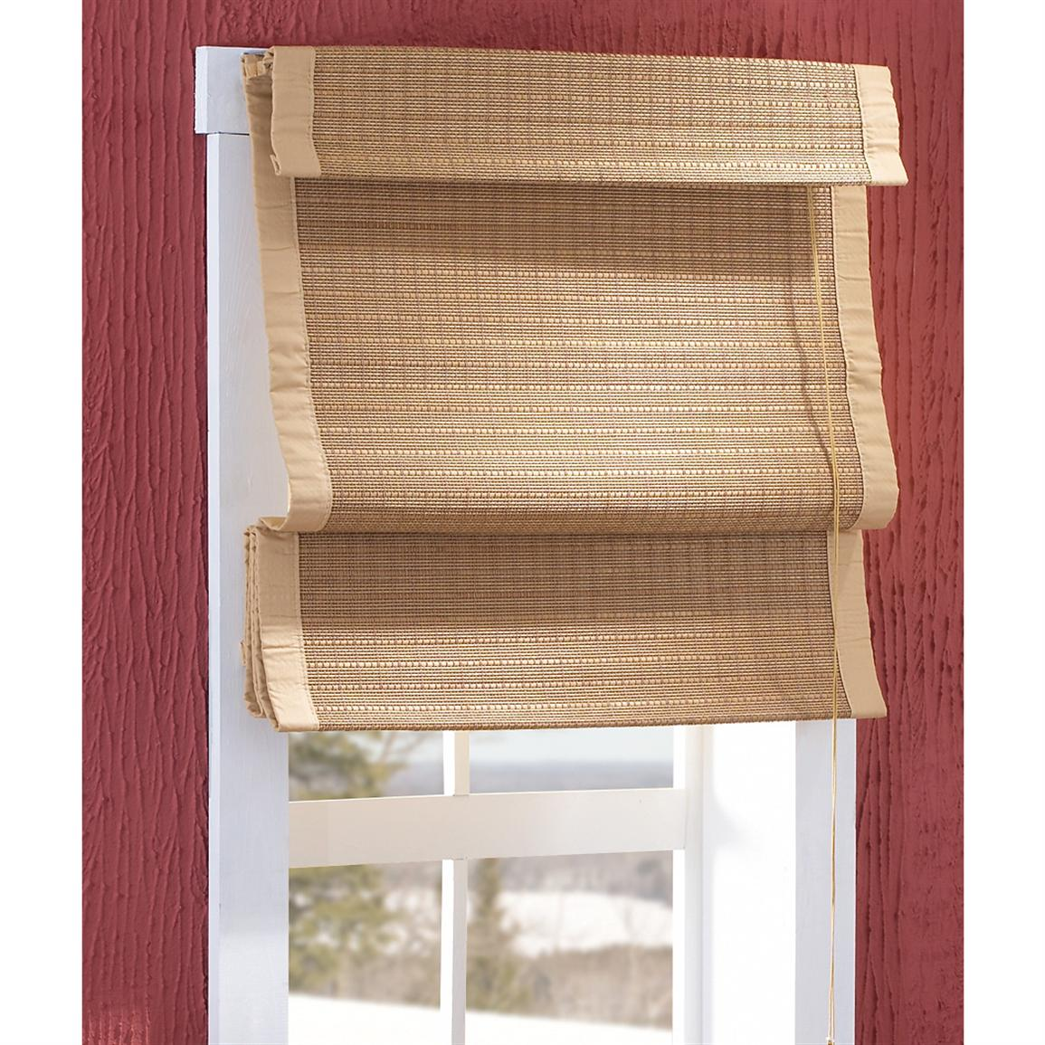 Thermal Insulated Bamboo Roman Shades 150385 Curtains