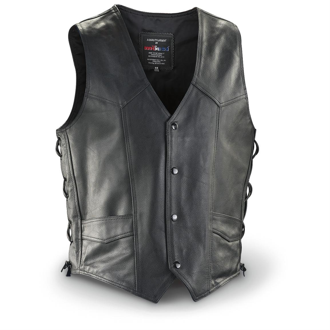 Mossi Side Lace Leather Vest, Black