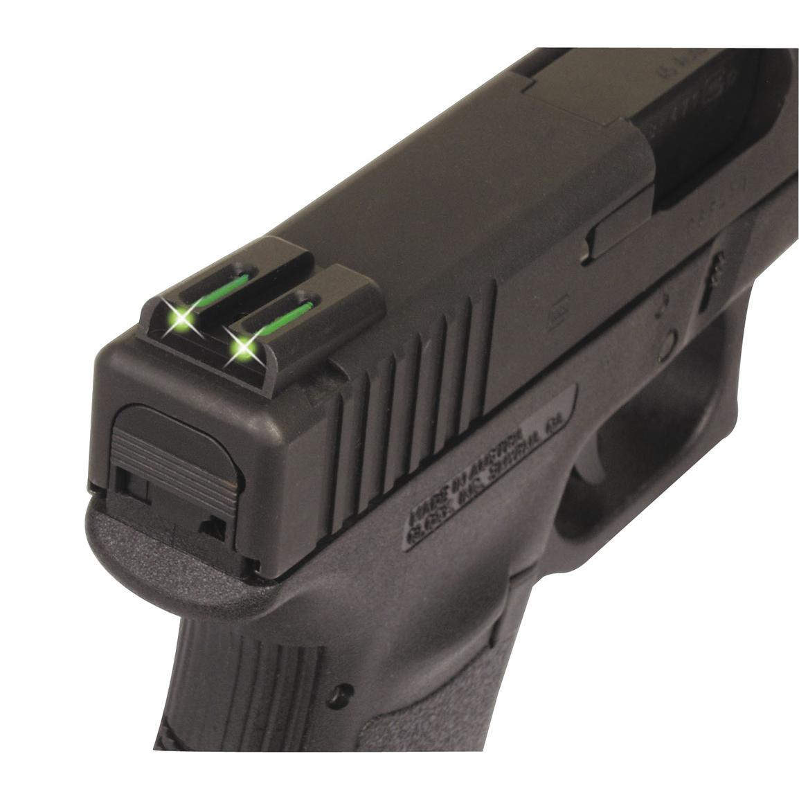 Truglo Tritium / Fiber Optic Rite Front Sight, Front Green, Rear Yellow Sig - #8 Front / #8 Rear