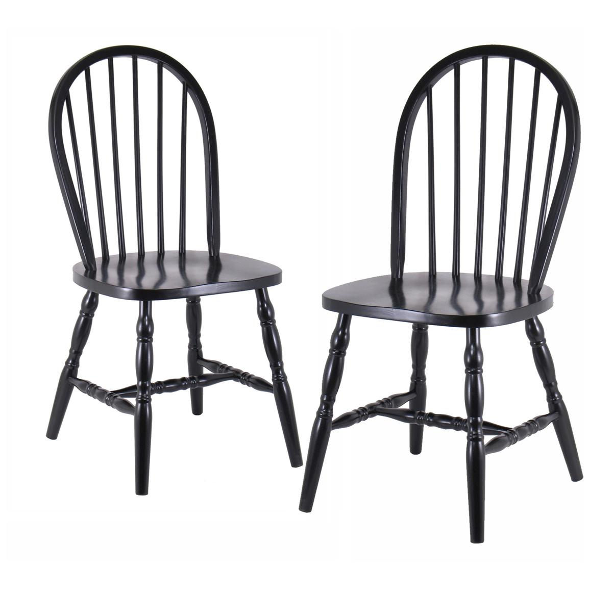 Winsome Set of 2 Black Windsor Chairs