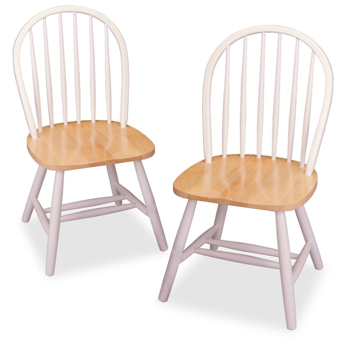 Winsome Set of 2 Natural & White Windsor Chairs