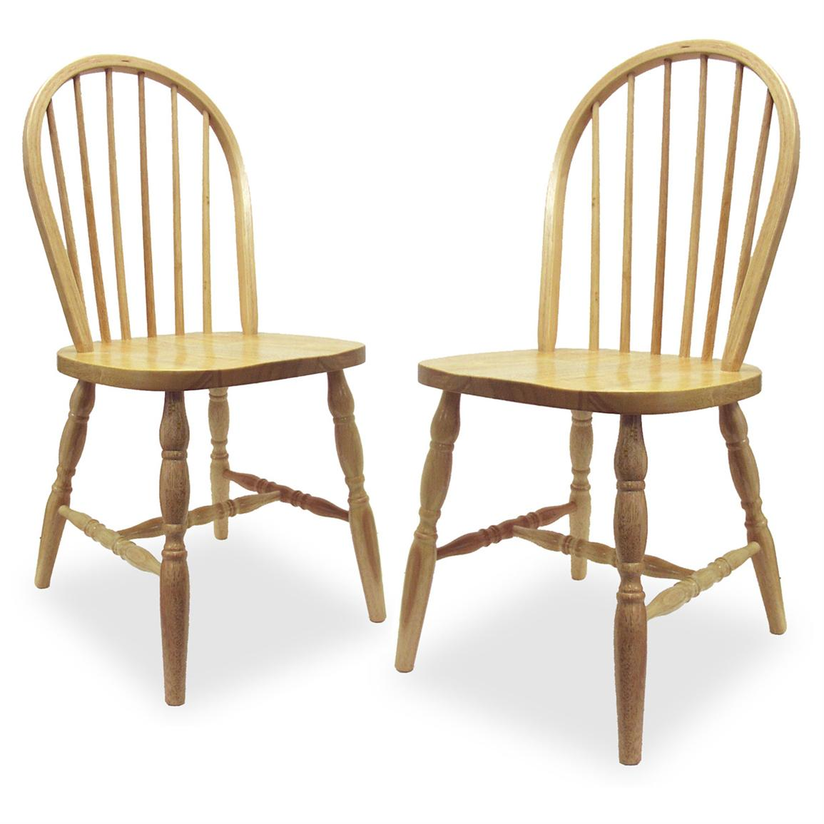 Winsome Set Of 2 Beechwood Windsor Chairs