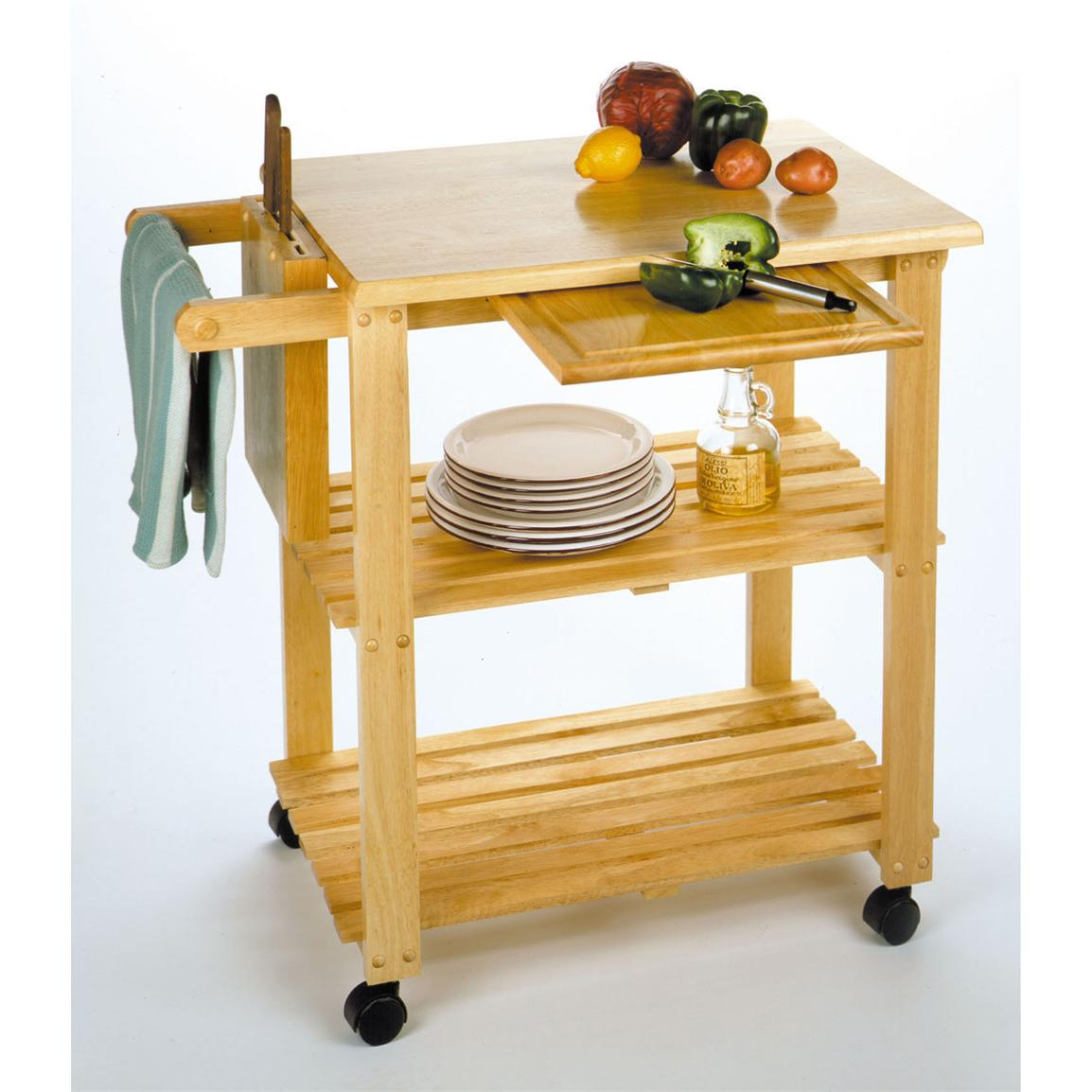 Winsome Beechwood Kitchen Cart with Wine Rack