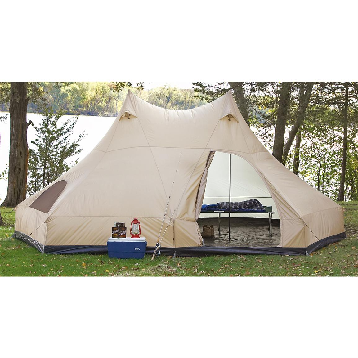 Guide Gear® Double-pole Wigwam Tent  sc 1 st  Sportsmanu0027s Guide & Guide Gear® Single - pole Wigwam Tent - 151368 Cabin Tents at ...