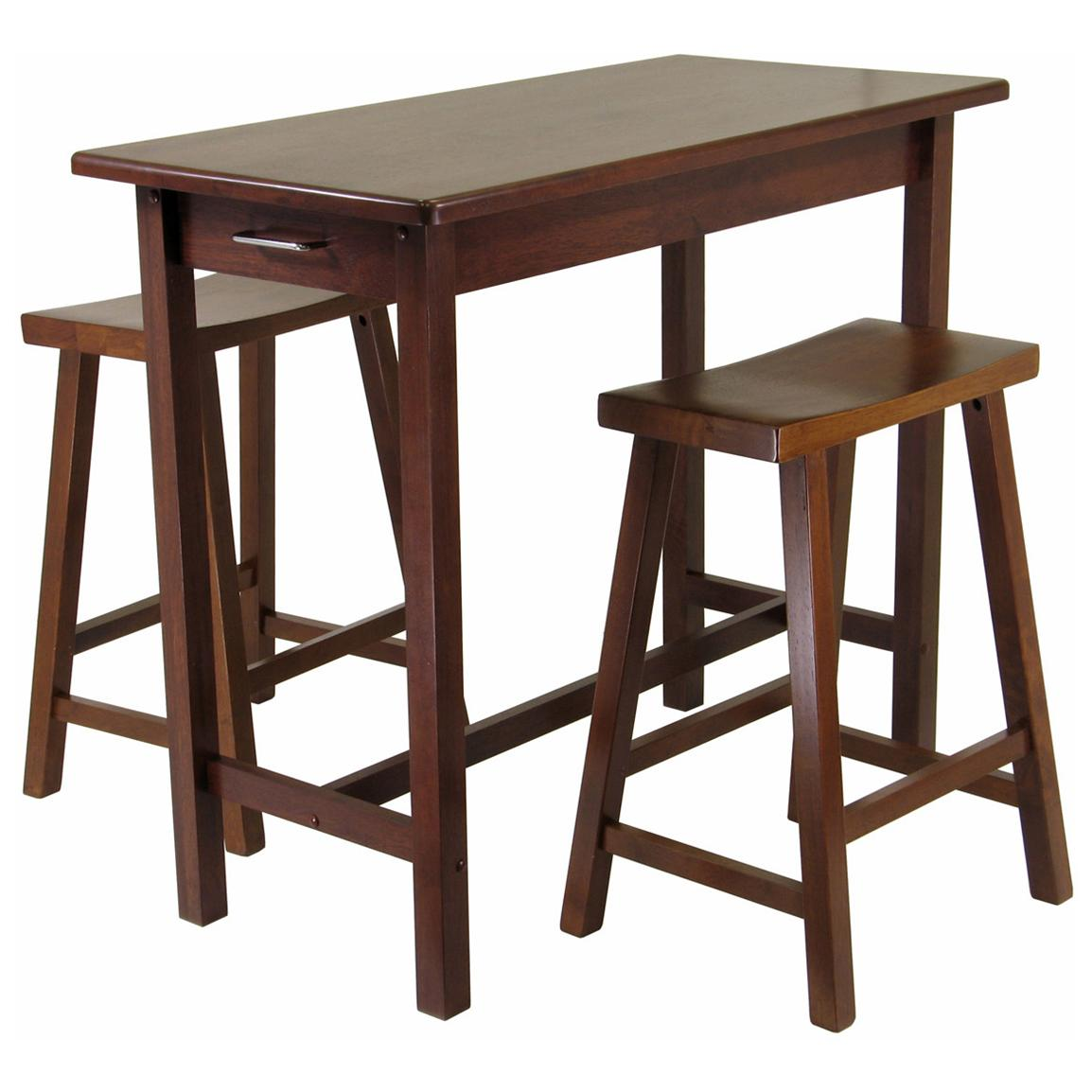 Winsome 3-Pc. Kitchen Island Table with 2 Saddle Stools