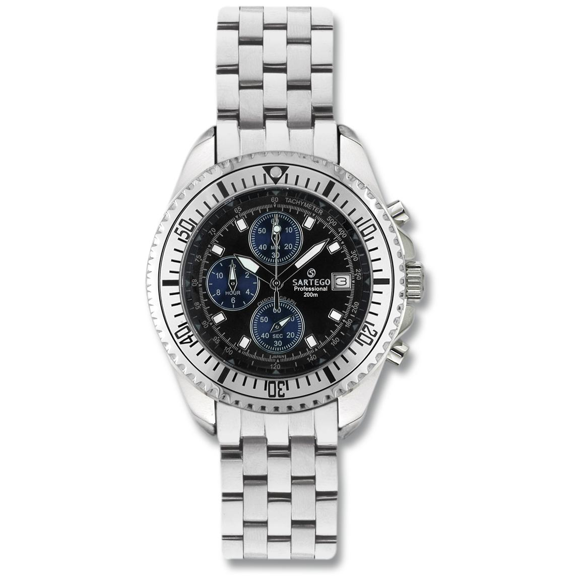 Men's Sartego® Ocean Master Chronograph Watch with Three Subdials, Black Dial