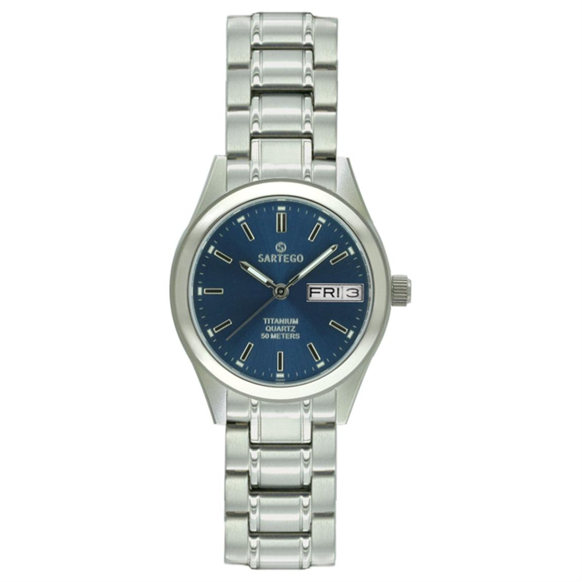 Women's Sartego® Barcelona Titanium Watch, Blue Dial