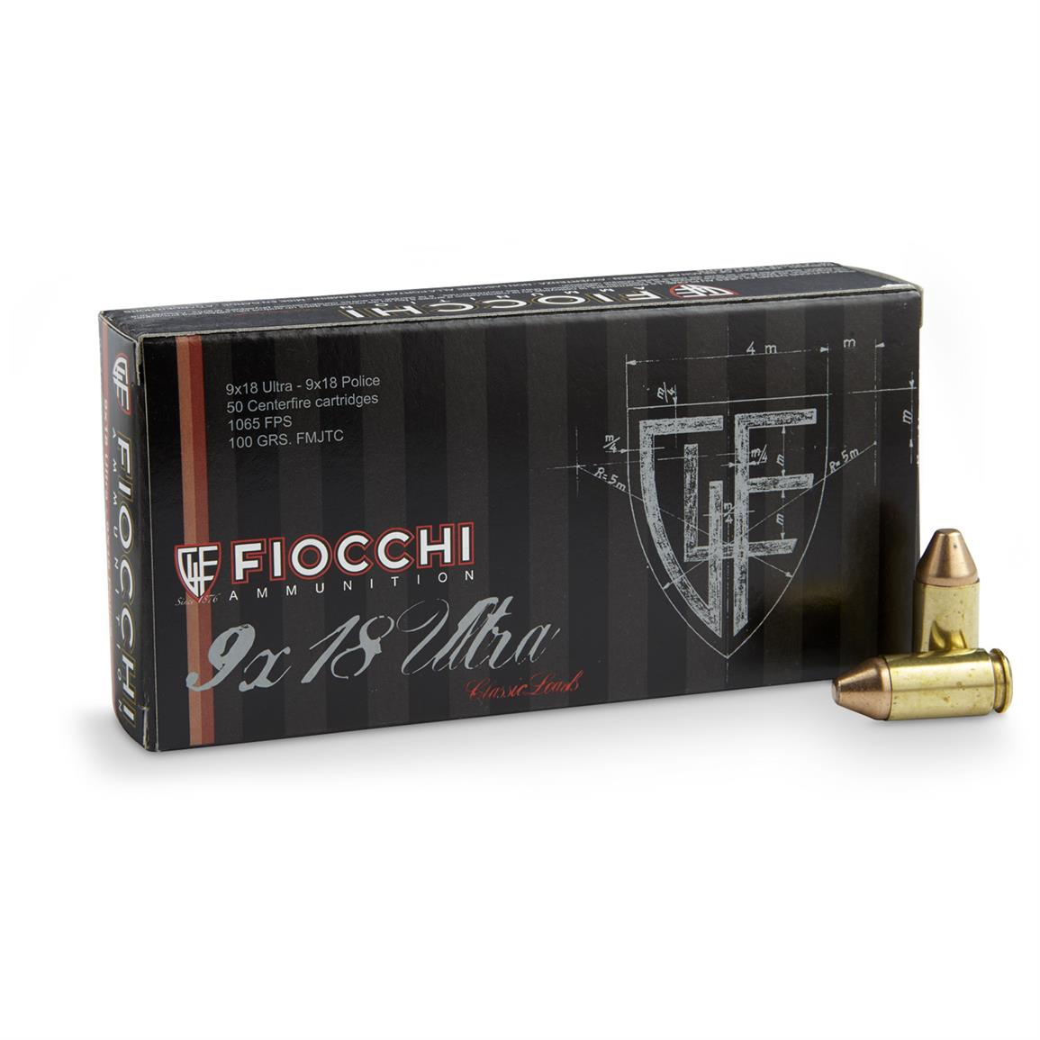 Fiocchi Specialty 9x18 Ultra (Police) 100 Grain FMJTC 50 rounds