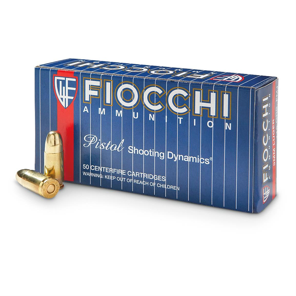 Fiocchi, 9mm Luger, FMJ, 115 Grain, 50 Rounds