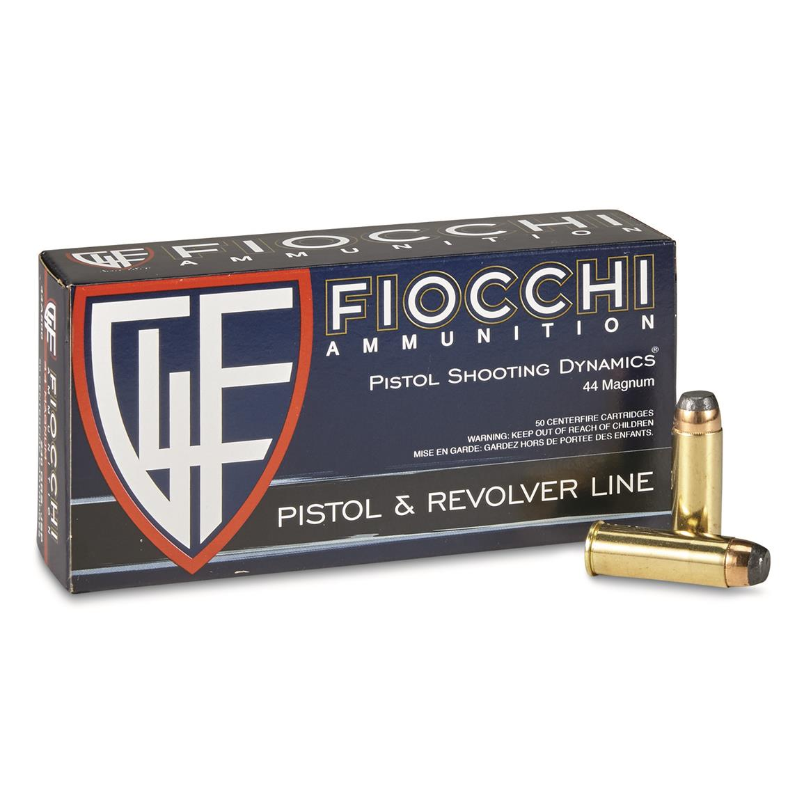 Fiocchi Shooting Dynamics, .44 Mag, JSP, 240 Grain, 50 Rounds