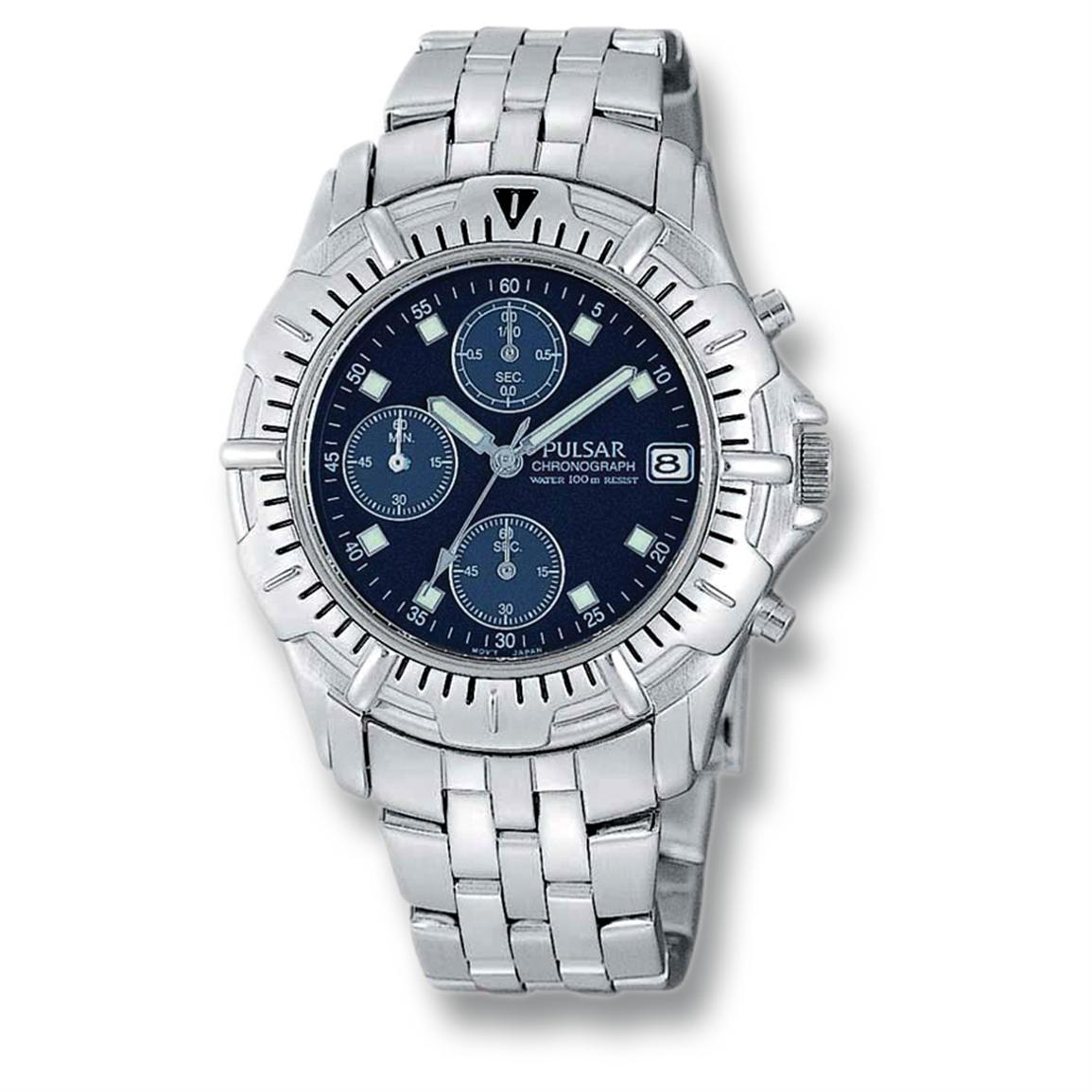 Men's Pulsar® Chronograph Watch, Silvertone