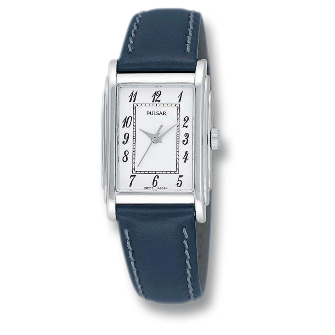 Women's Pulsar® Leather Strap Watch, Silvertone / White Dial