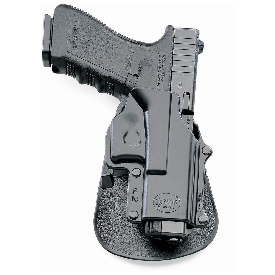 Fobus Glock 17/19/22/23/31/32/34/35 Paddle Holster with Double Mag Pouch, Left Hand