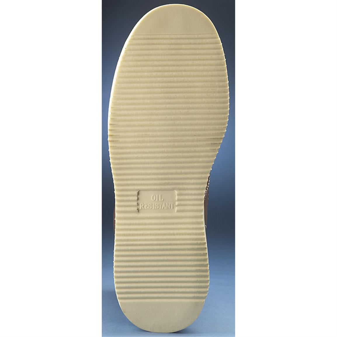 Oil-resistant, wedge-style polyurethane outsole with traction and bounce