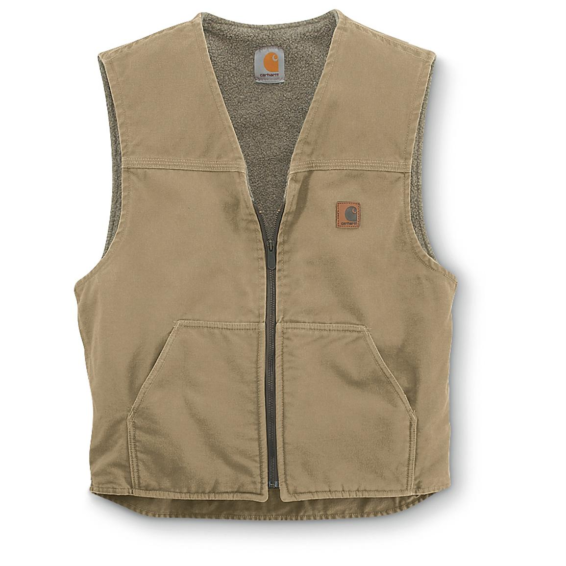 Carhartt Men's Sandstone Rugged Sherpa-Lined Vest, Frontier Brown