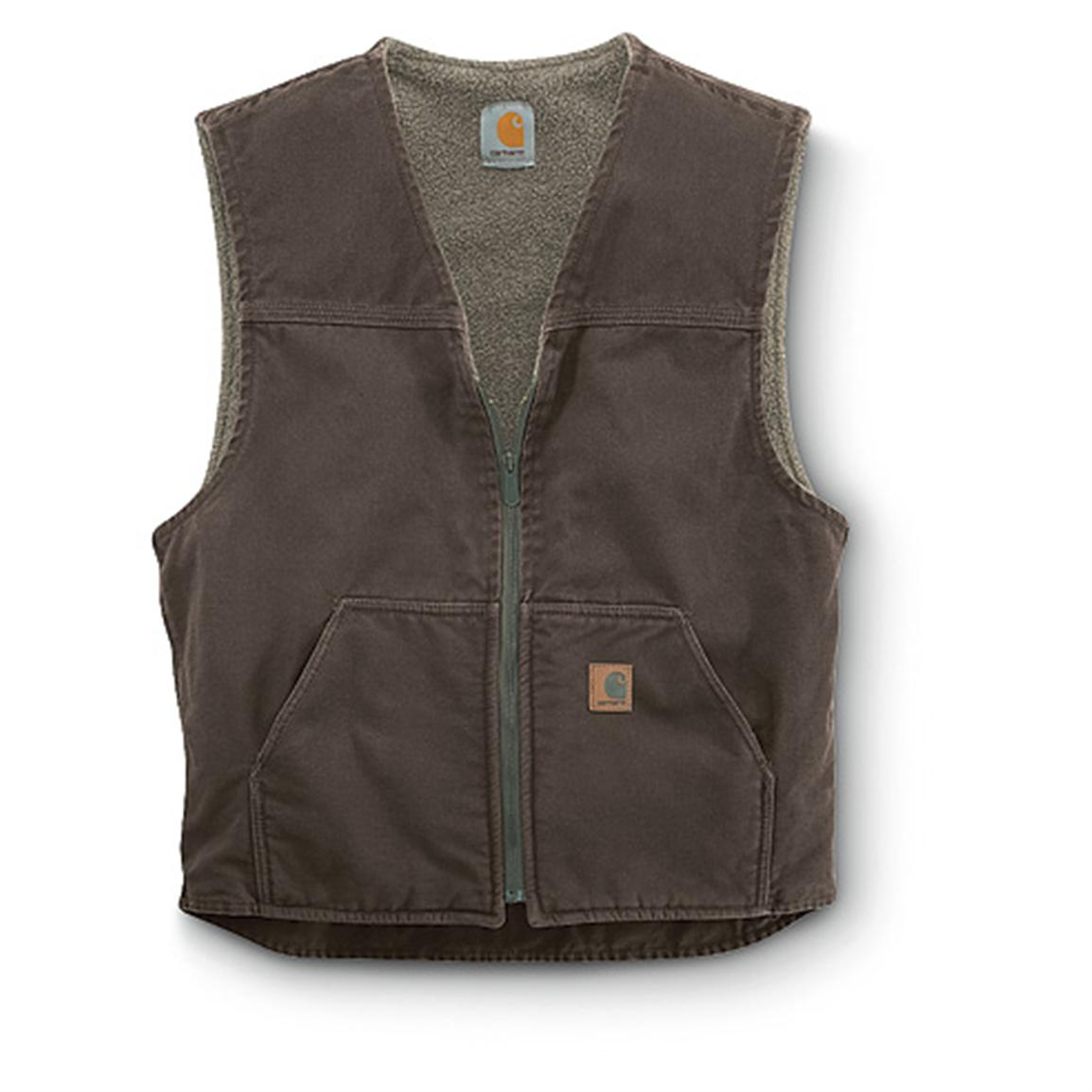 Carhartt Men's Sandstone Rugged Sherpa-Lined Vest, Dark Brown