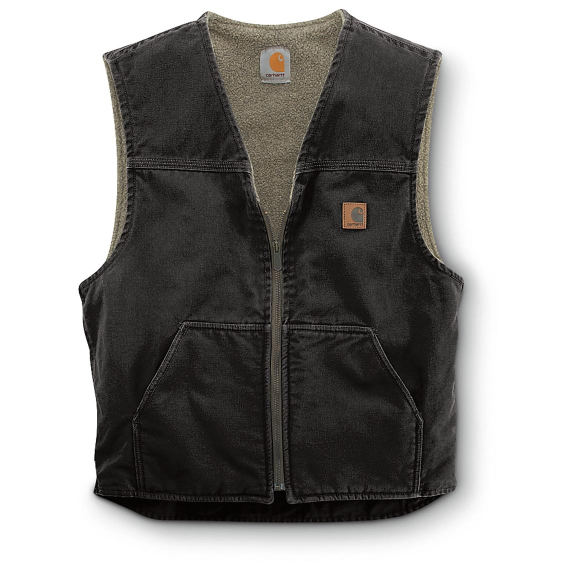 Carhartt Men's Sandstone Rugged Sherpa-Lined Vest, Black