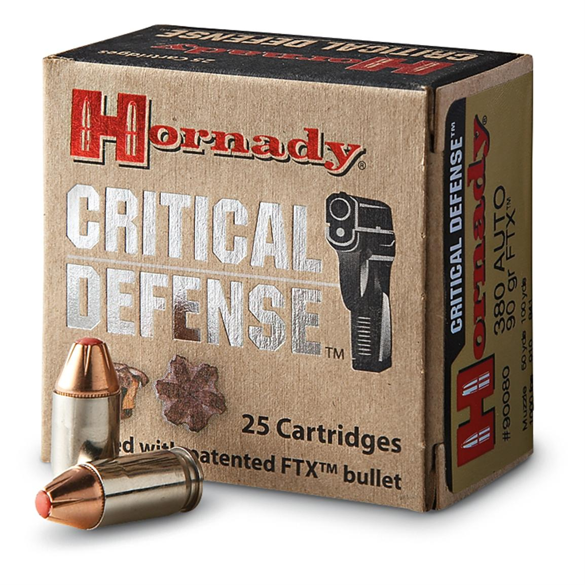 Hornady Critical Defense, .380 ACP, FTX, 90 Grain, 25 Rounds