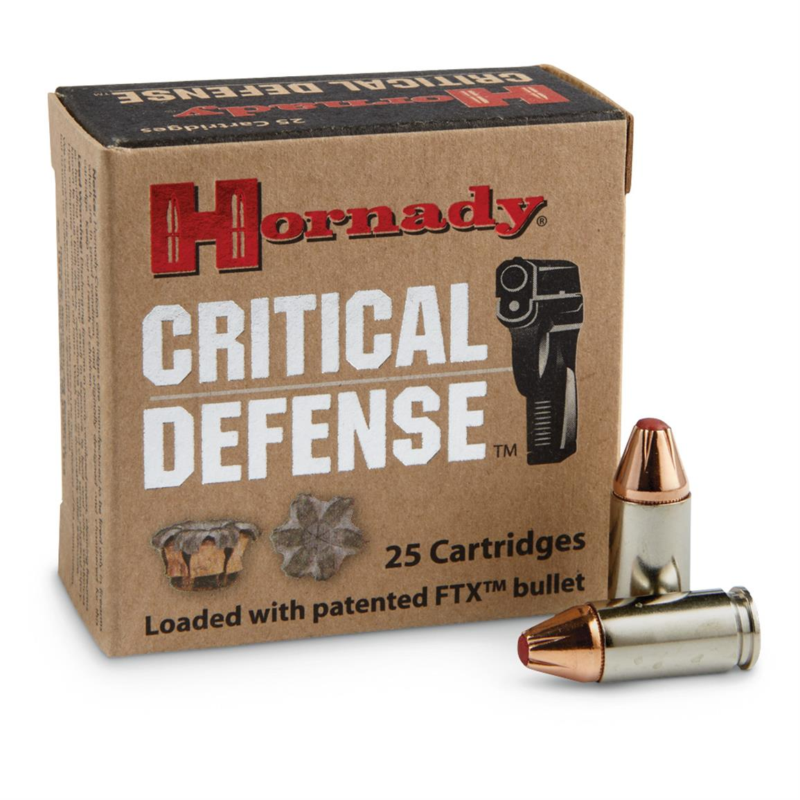 Hornady Critical Defense Lite, 9mm Luger, FTX, 100 Grain, 25 Rounds