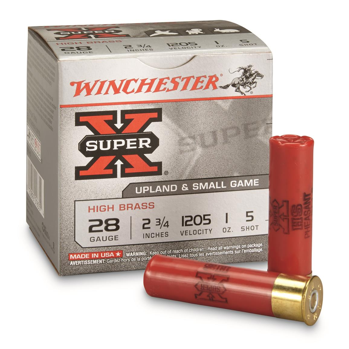 "Winchester, Super-X High Brass Game Loads, 28 Gauge, 2 3/4"" 1 ozs., 25 Rounds"