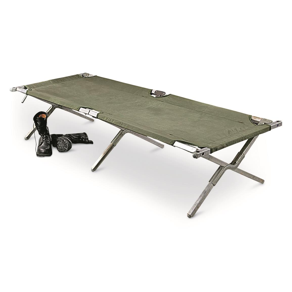U.S. Military Surplus Aluminum Cot with New Cover, Used