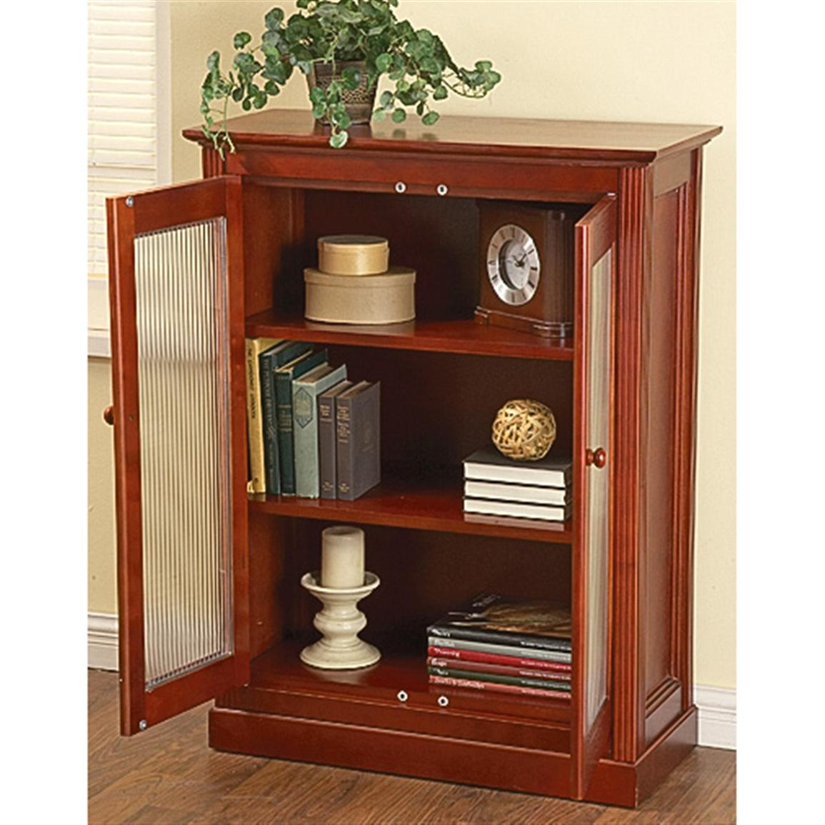 Glass Front Double Door Cabinet Cherry 161749 Living Room At Sportsma