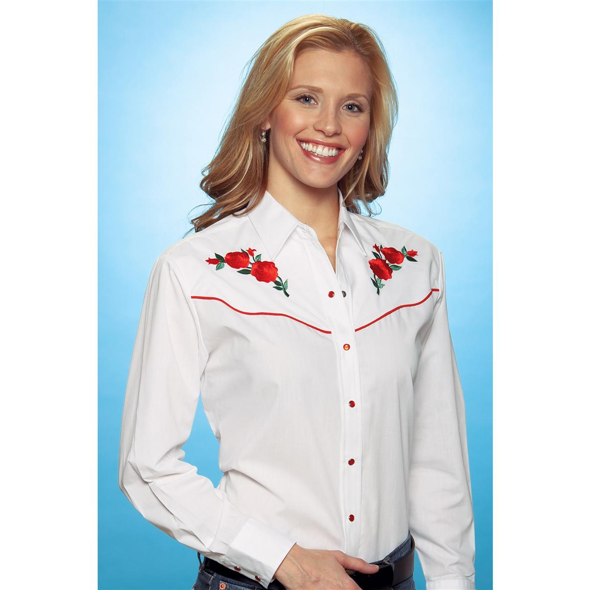 Women's Ely Charmers® Rose Embroidered Shirt, White / Red