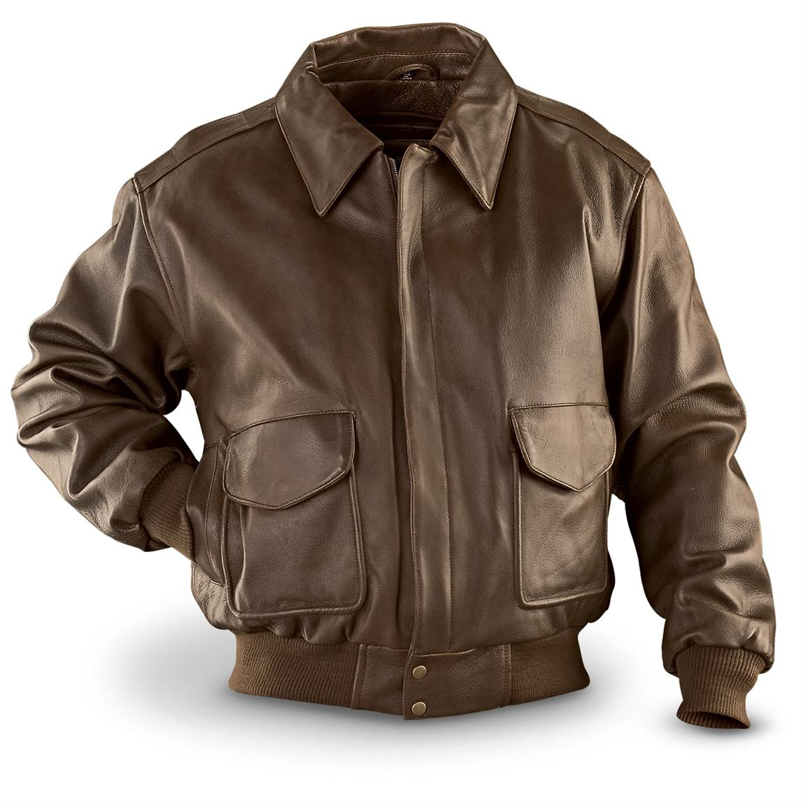 Vintage Leather™ Bomber Jacket with Zip - out Liner, Brown ...