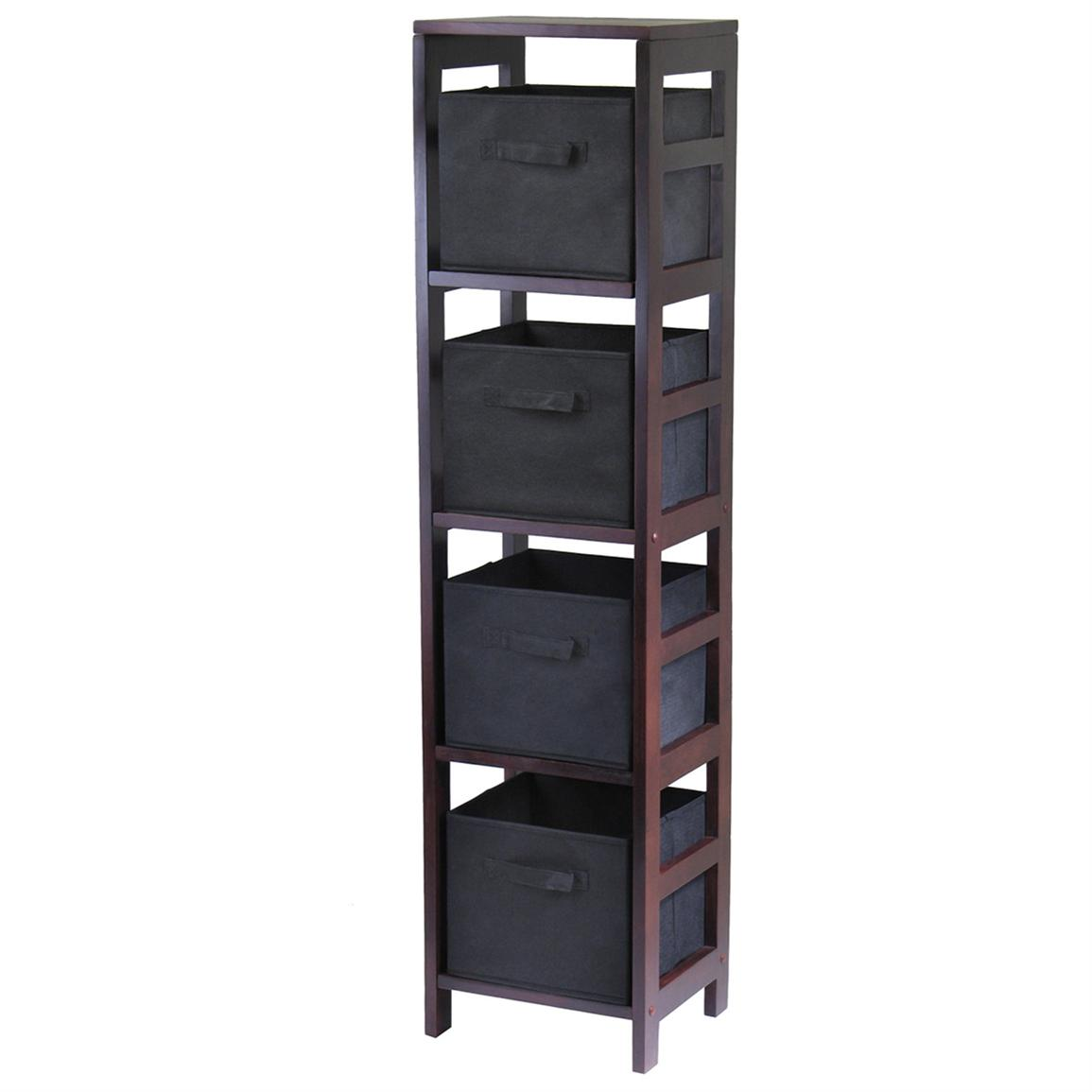 Winsome® Leo 4-Section Tall Storage Shelf with 4 Foldable Black Fabric Baskets
