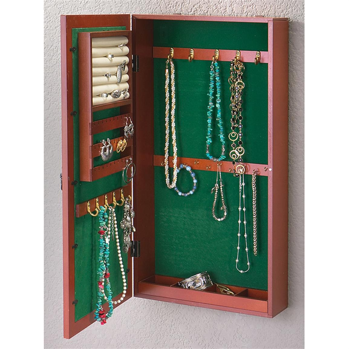 Wall - mount Wood Jewelry Armoire - 164728, Housekeeping ...