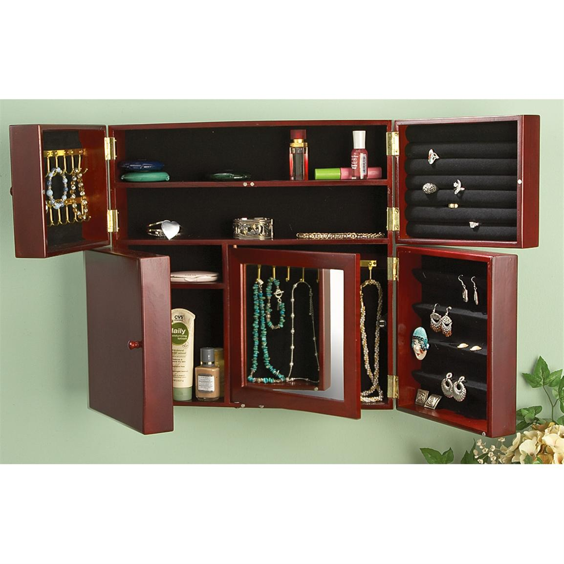 Jewelry And Makeup Storage Cabinet With Mirror 164730