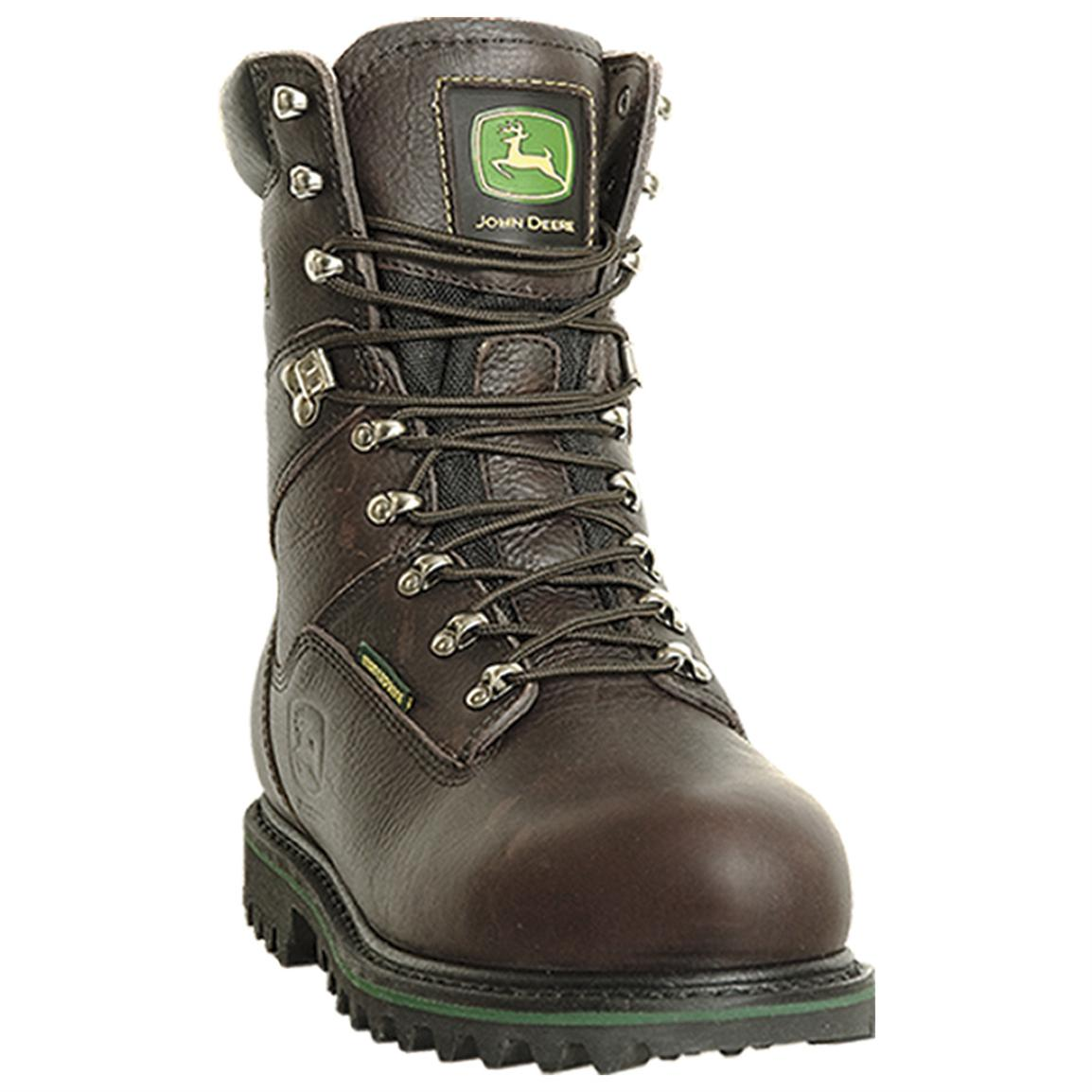 "Men's John Deere® 9"" Waterproof, Insulated NST Work Boots, Raspberry"