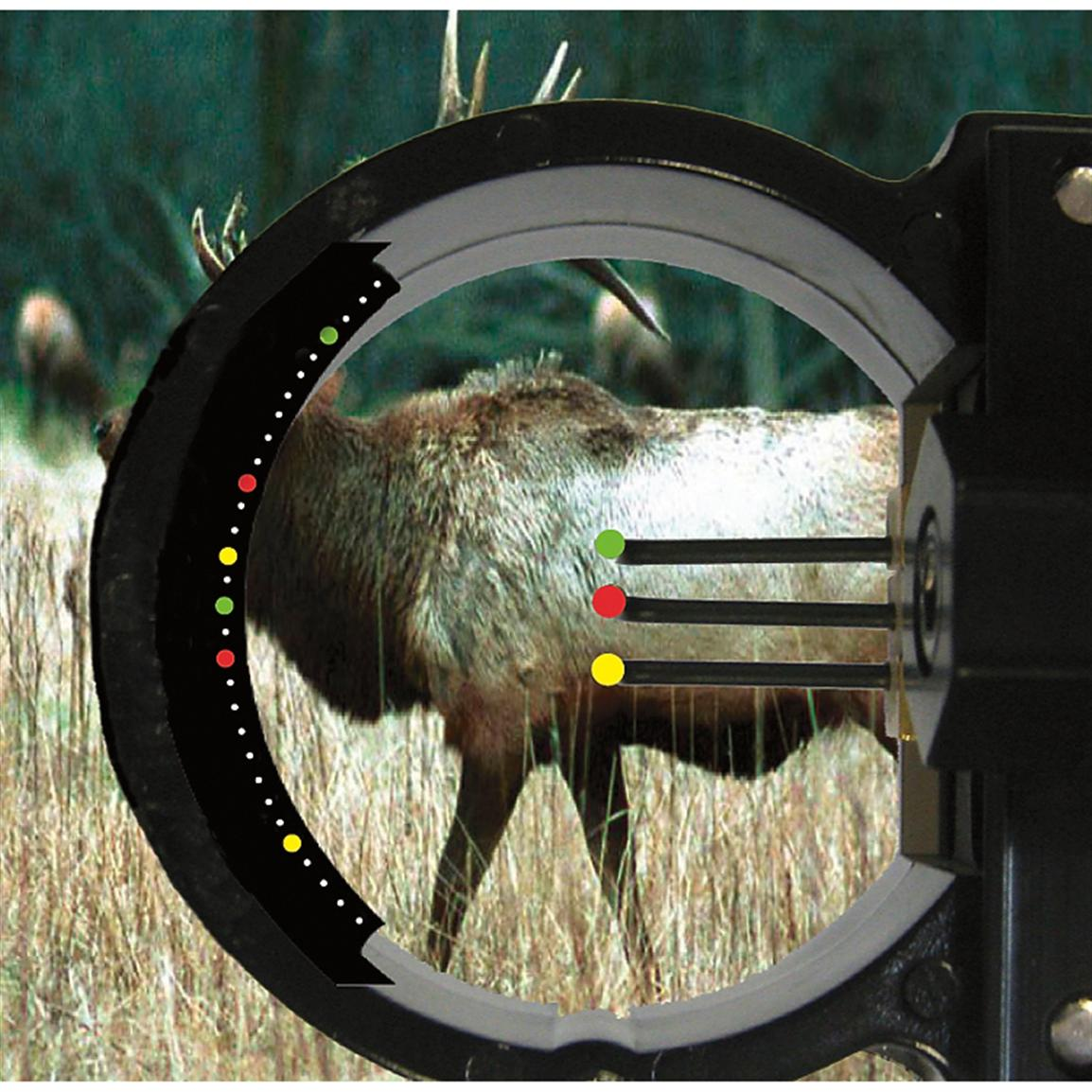 Not a laser range finder, this unit mounts to the pin guard on your sight, so it can be used hands-free at full draw