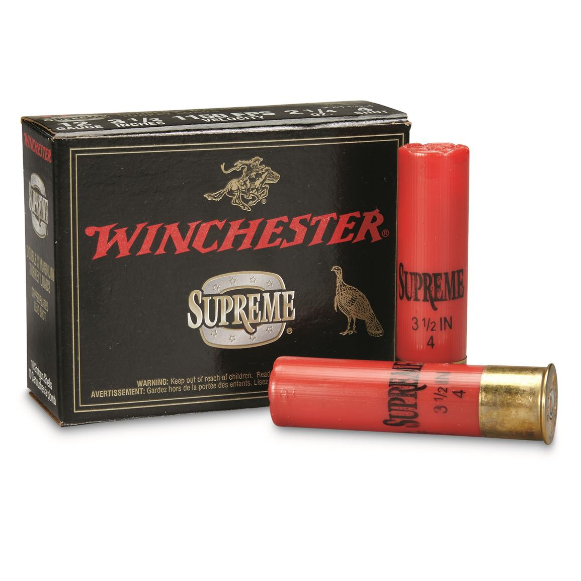 "Winchester, 12 Gauge, 3 1/2"", 2 1/4 oz., Supreme Double X Magnum Copper Plated Turkey Loads, 10 Rounds"