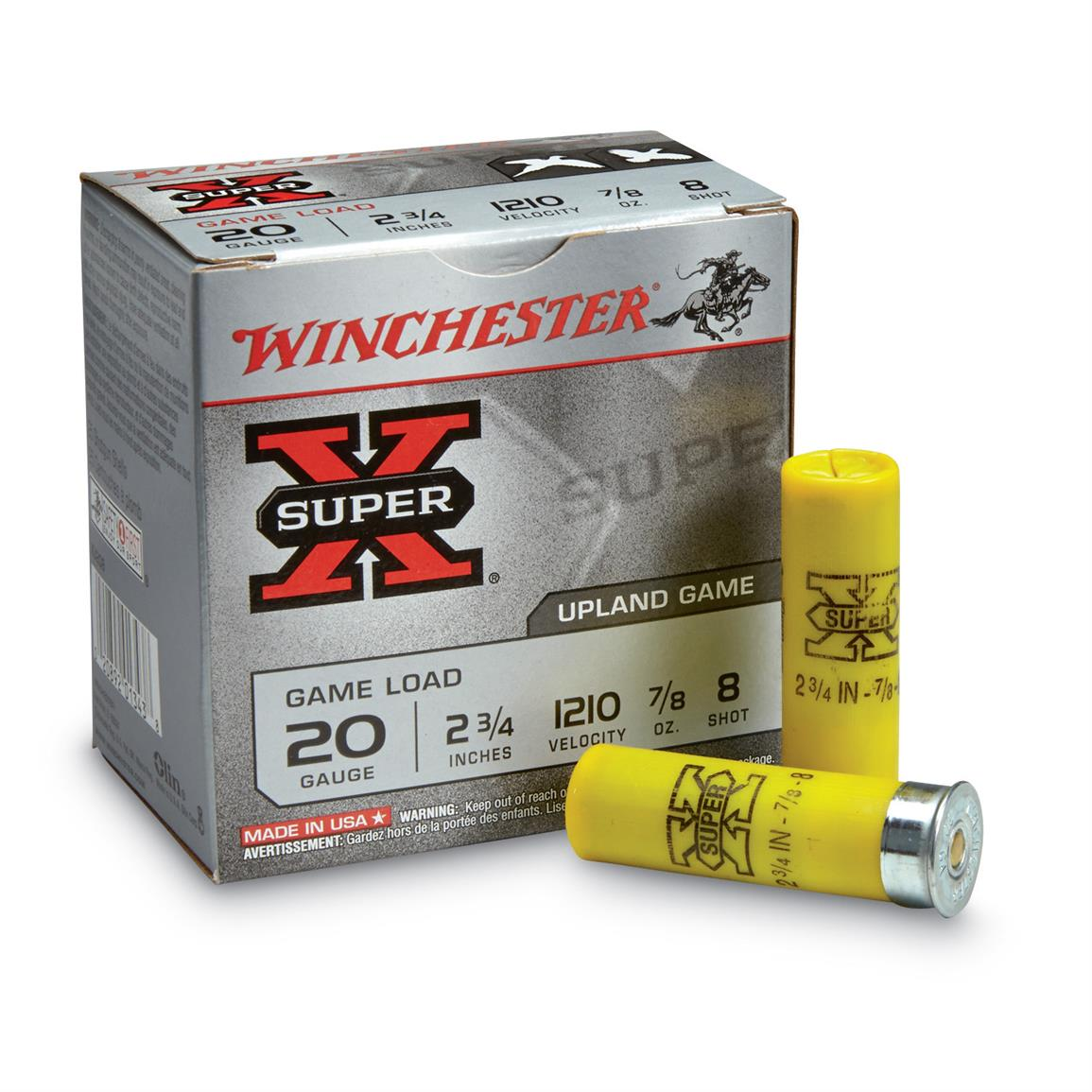 "Winchester, 2 3/4"" 20 Gauge, 7/8 oz. Super-X Game Loads, 25 Rounds"