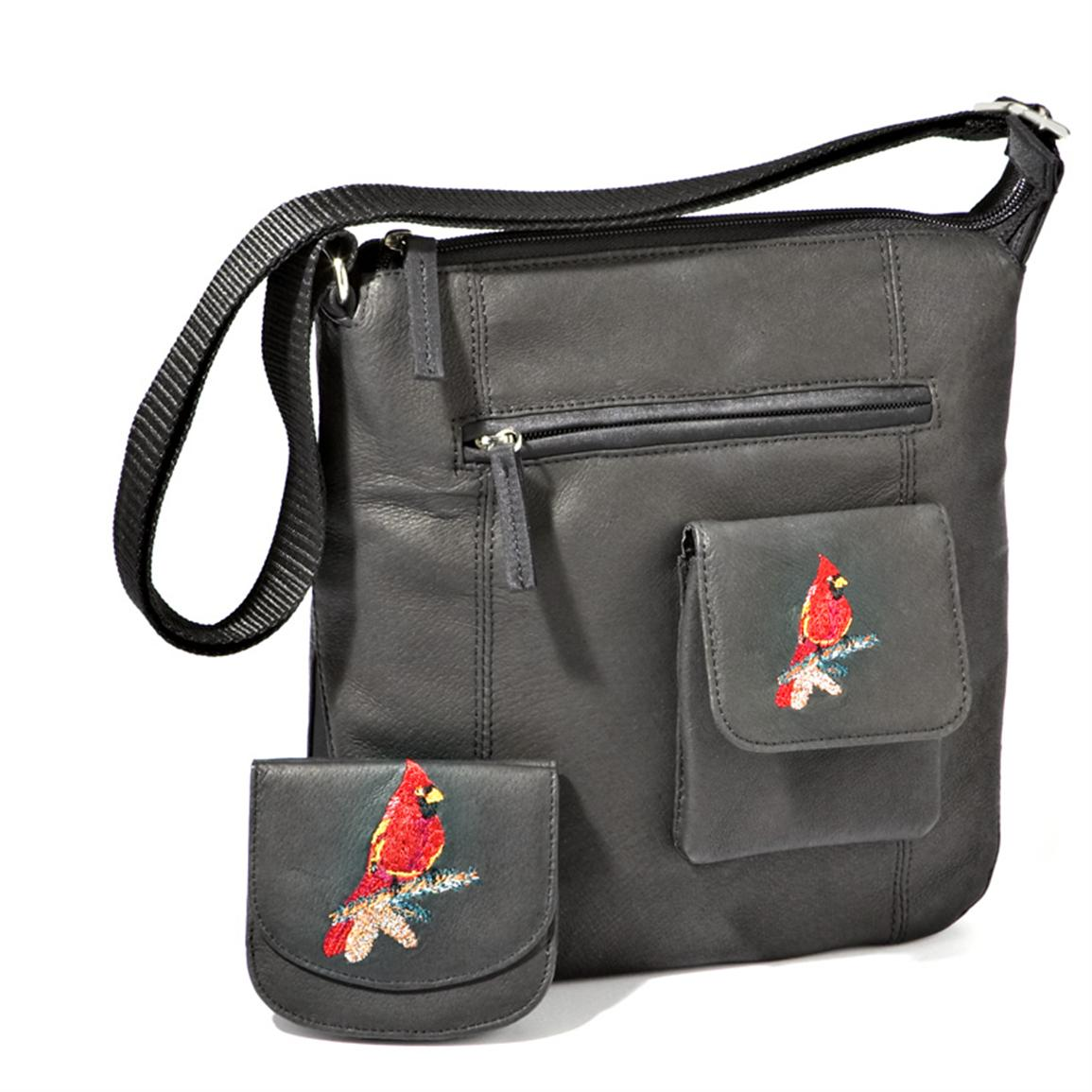 Kingport® Embroidered Cardinal Flat Sack with Small Wallet