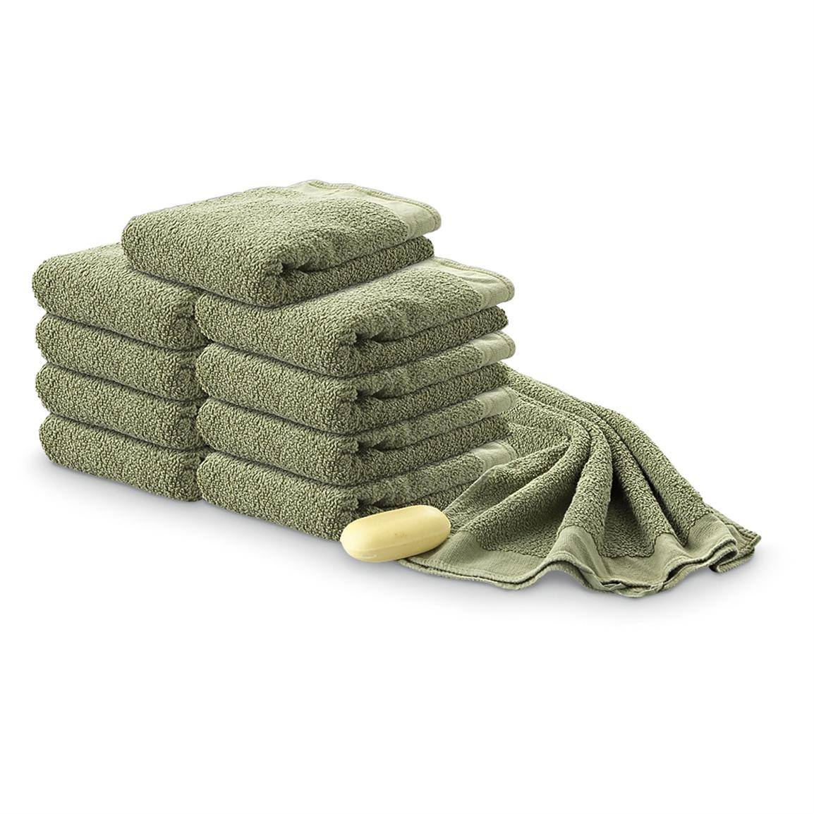 10 Used German Military Surplus Cotton Towels, Olive Drab