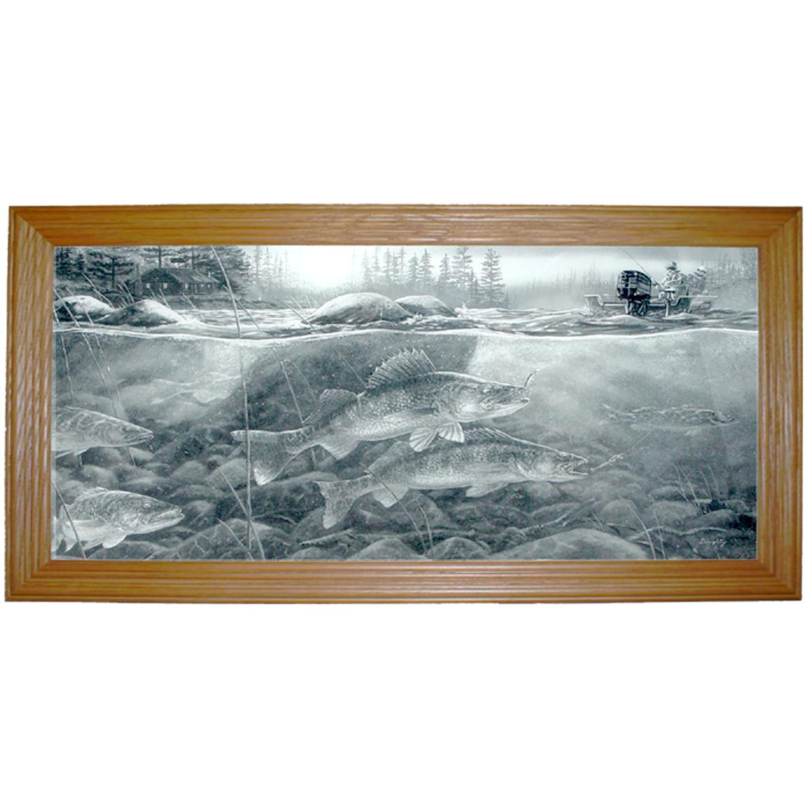 "Island City Picture Co. ""Walleye on Rocks"" Framed Print"