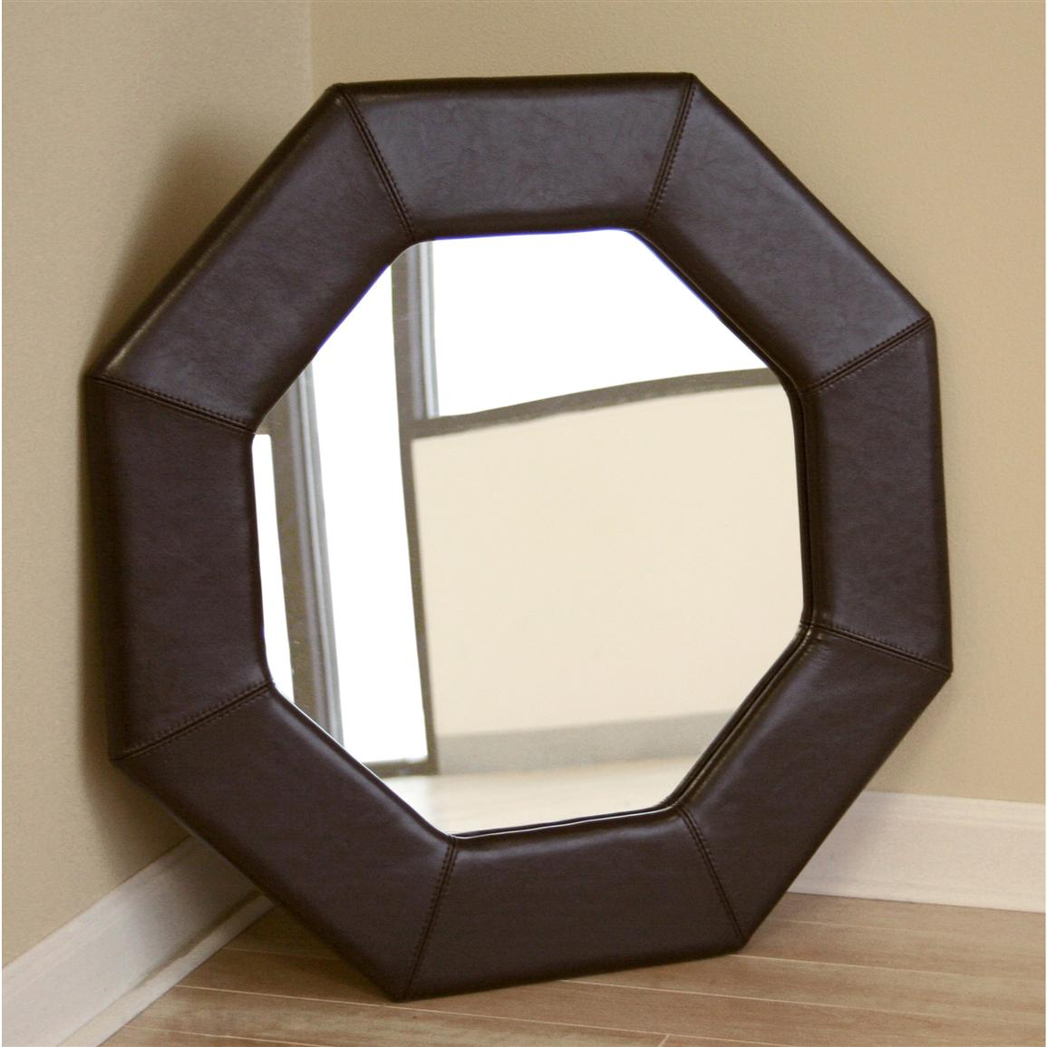 Wholesale Interiors® Espresso Brown Leather Octagon Mirror
