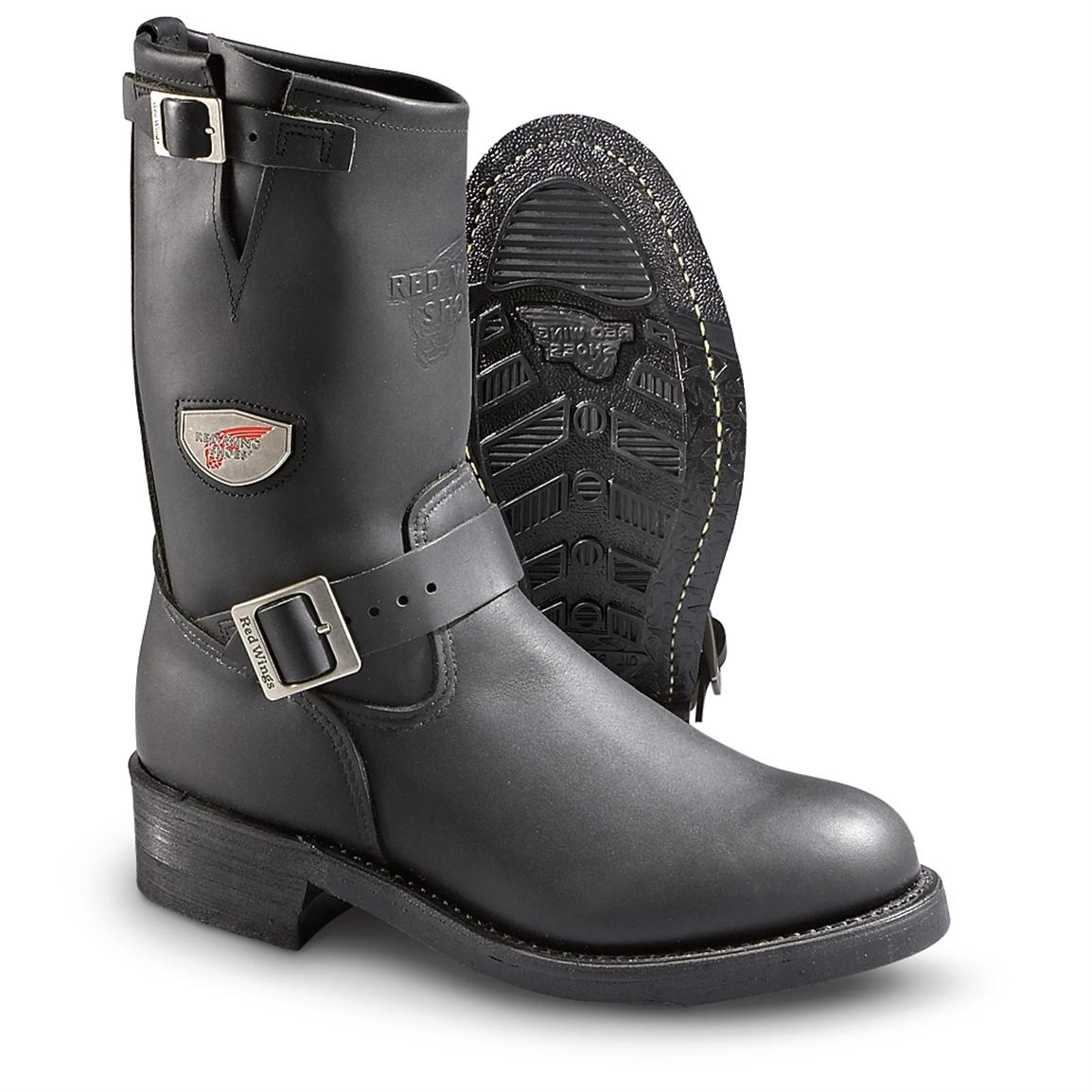 Men S Red Wing 174 Engineer Boots Black 168170 Motorcycle