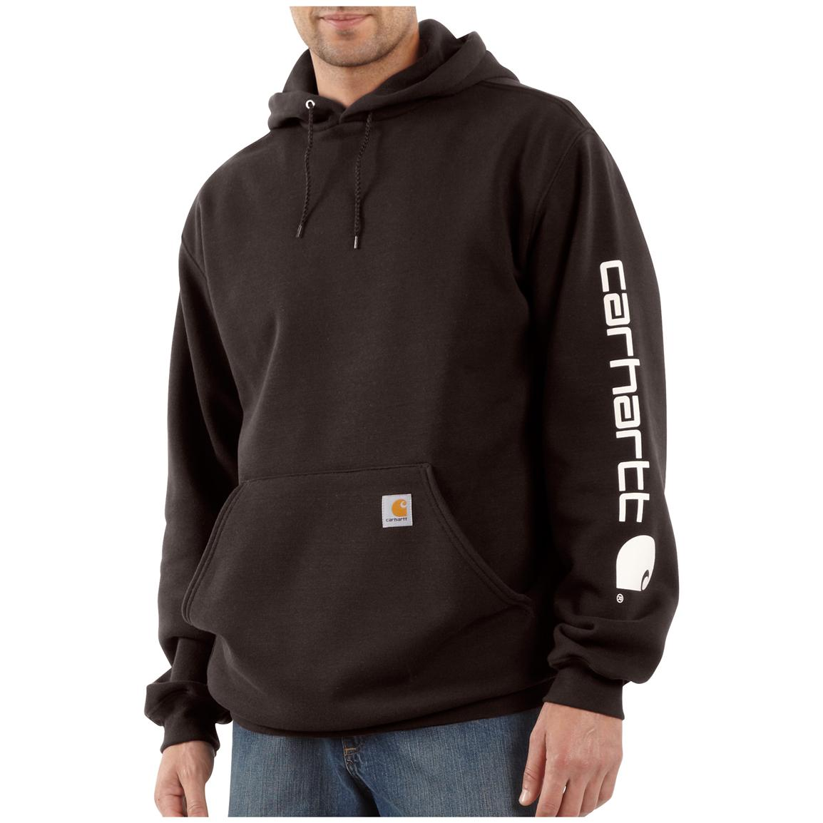 Men's Carhartt® Midweight Hooded Logo-sleeve Pullover Sweatshirt, Dark Brown