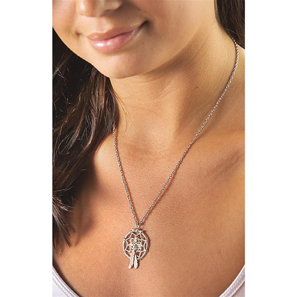 Sterling Silver and Black Hills Gold® Dreamcatcher Necklace